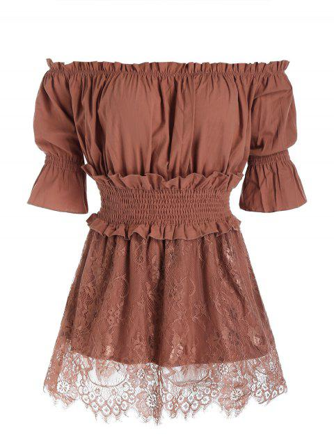 Bare Shoulder Ruffled Trim Skirted Blouse