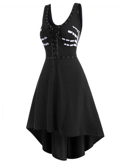 Grommet Lace-up Halloween Skeleton High Low Tank Dress