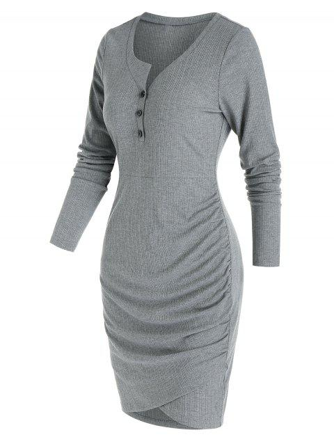 Plain Henley Tulip Hem Mini Sheath Dress