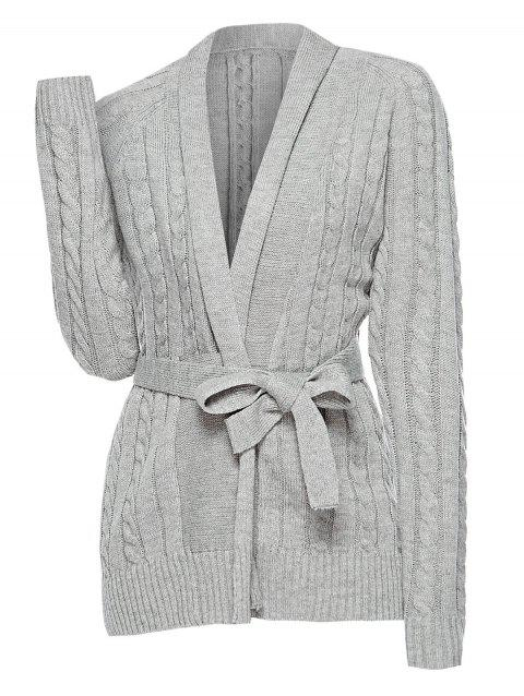 Plus Size Belted Cable Knit Cardigan