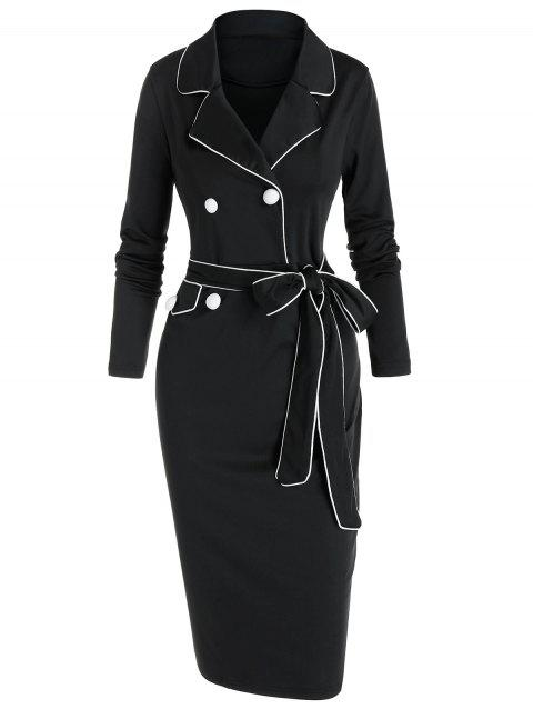 Contrast Piped Belted Knee Length Fitted Dress