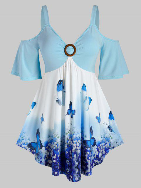 Plus Size Butterfly Floral Open Shoulder Tee