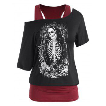 Plus Size HalloweenBatwing Sleeve Skeleton Flower Blouson T-shirt