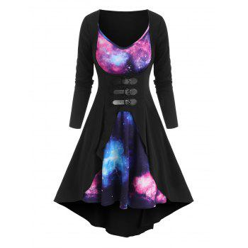Galaxy Print Dress and Buckled Duster Coat Set