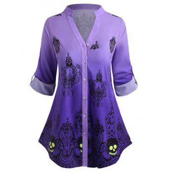 Plus Size Halloween Roll Up Sleeve Tribal Print Ombre Top