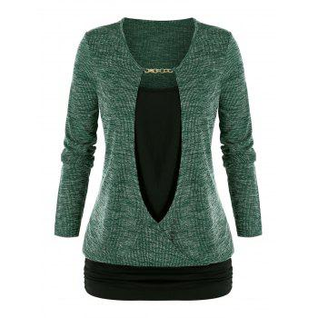 Plus Size Chain Embellished Mixed-media Ruched Sweater