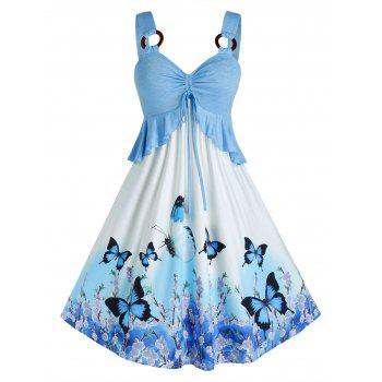 Plus Size Butterfly Print Ruffle O Ring Cinched Dress