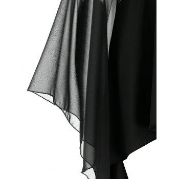 Gothic Sheer Bell Sleeve High Low T Shirt