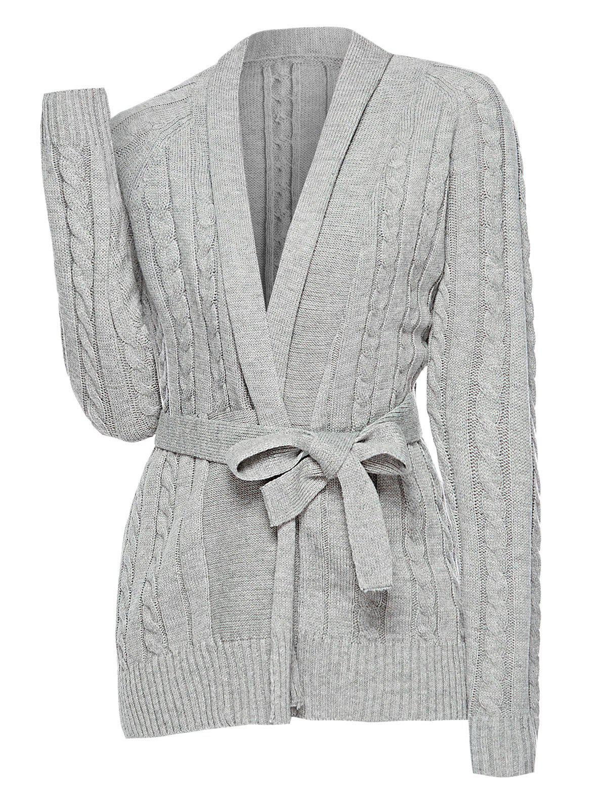 Plus Size Belted Cable Knit Cardigan - GRAY L