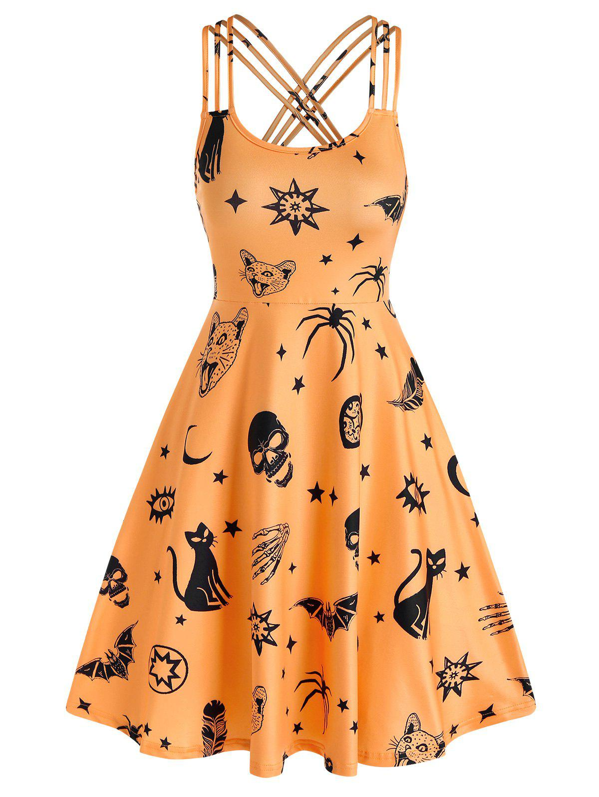 Skull Animal Print Cami Gothic A Line Dress - HALLOWEEN ORANGE M