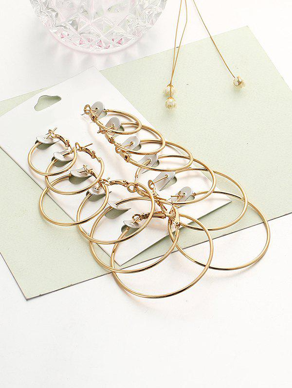 6 Pairs Exaggerated Hoop Earrings Set - GOLDEN