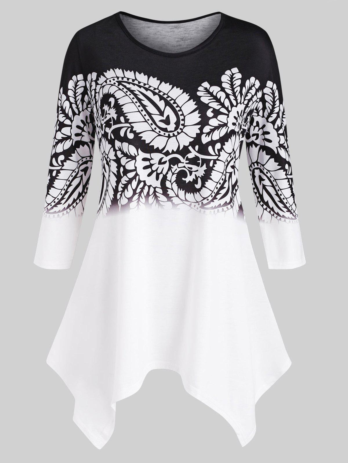 Paisley Printed Handkerchief Plus Size Top - BLACK 3X