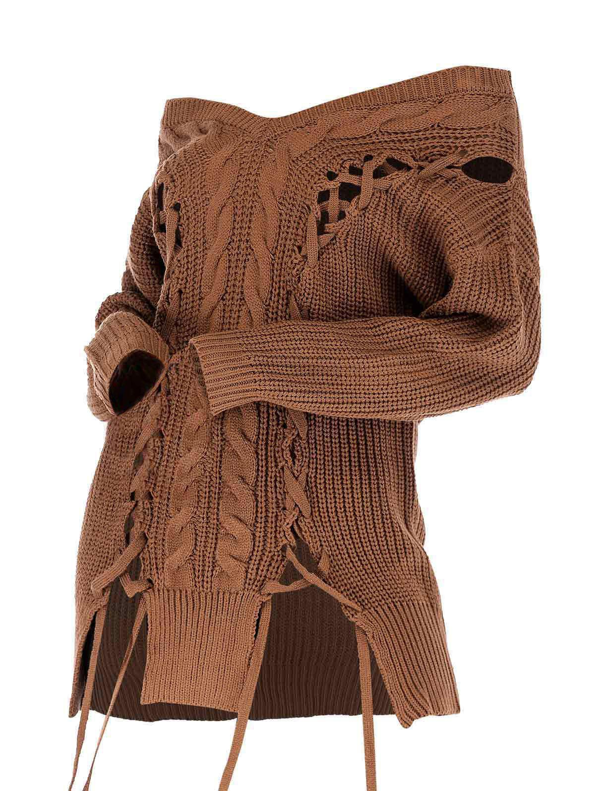 Plus Size Lace Up Off The Shoulder Sweater - COFFEE M