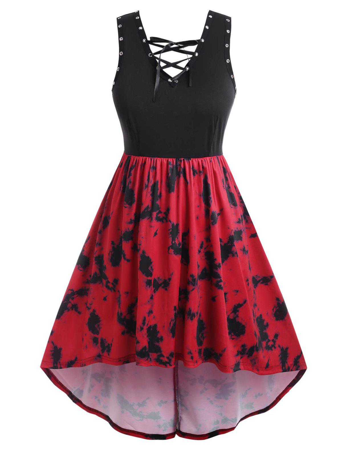 Plus Size Lace Up Tie Dye High Low Dress - RED 5X