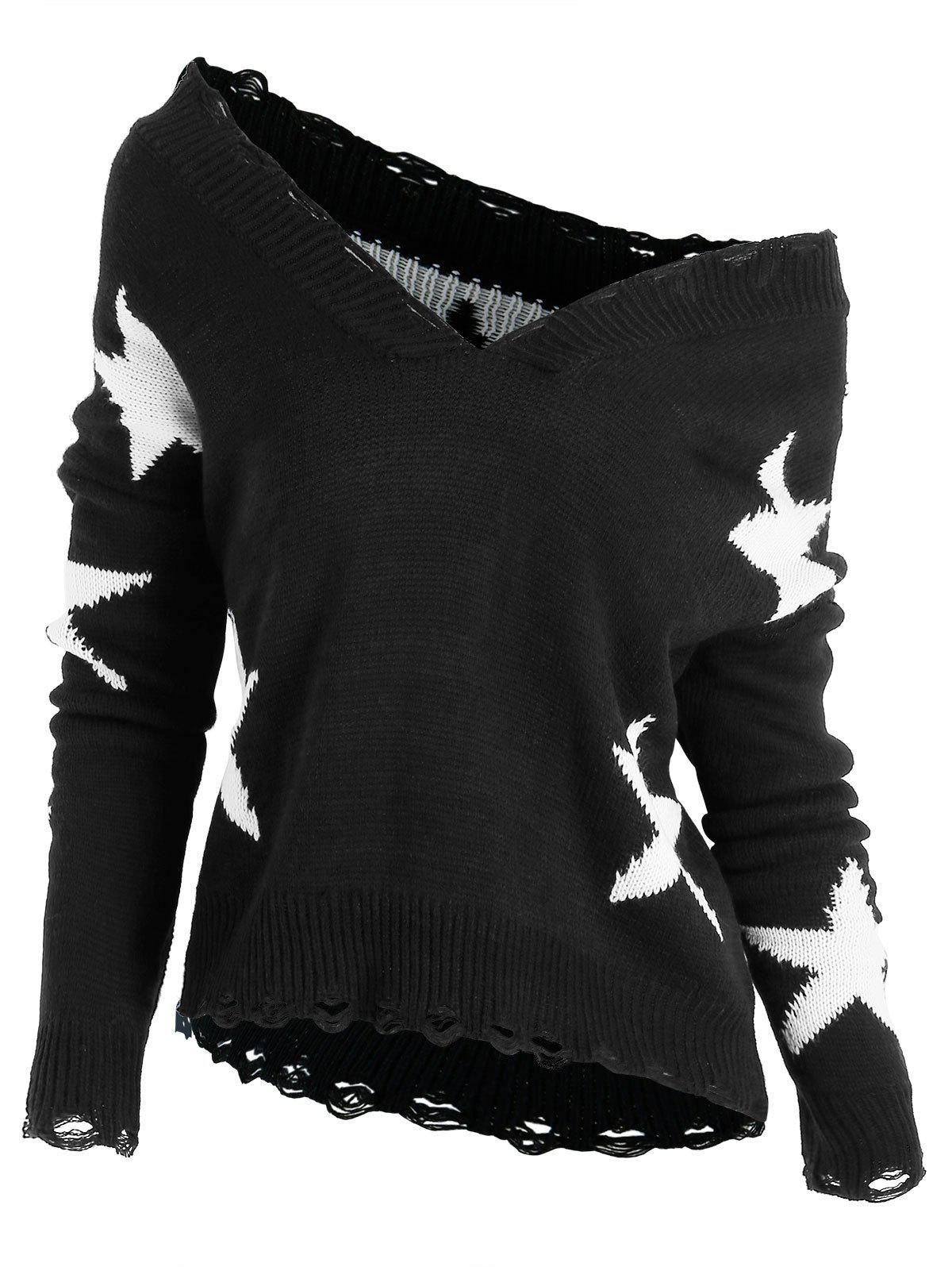 Plus Size Star Graphic Skew Collar Sweater - BLACK 4X