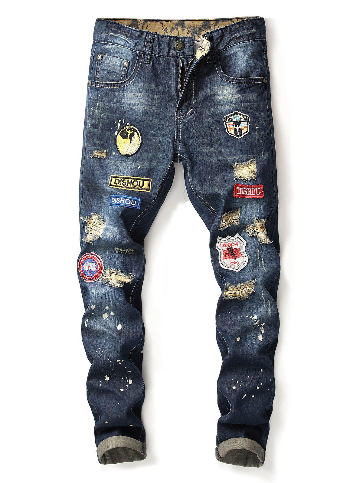 Ripped Embroidery Applique Casual Denim Pants - DEEP BLUE 32
