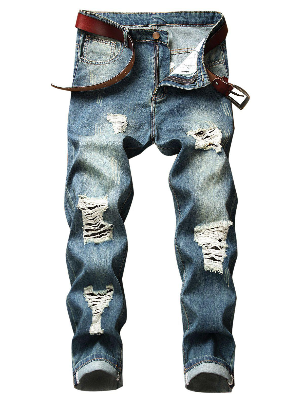 Ripped Hole Straight Denim Pants - DEEP BLUE 32