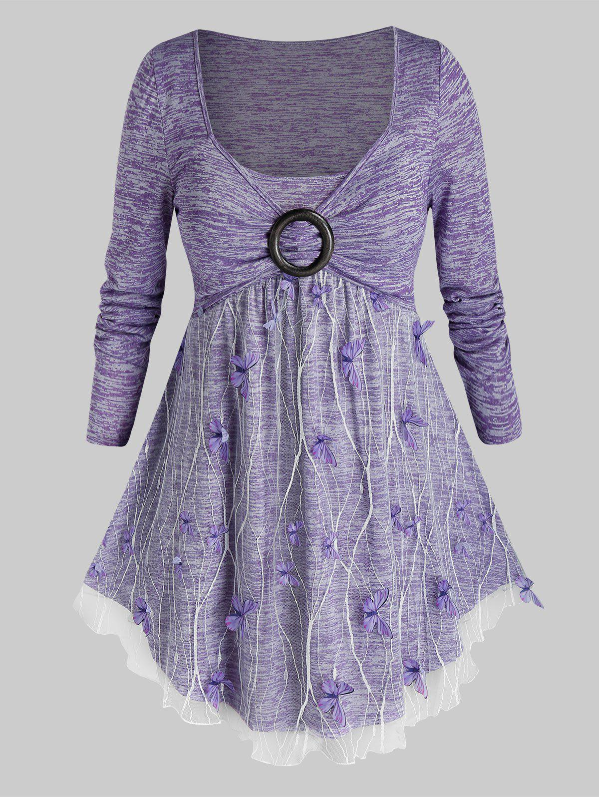 Plus Size Lace Overlay Butterfly Space Dye Long Sleeve Tee - MAUVE 3X