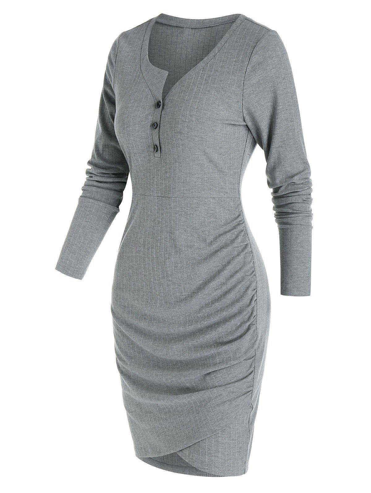 Plain Henley Tulip Hem Mini Sheath Dress - DARK GRAY 2XL