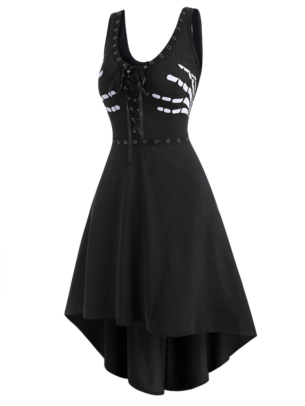 Grommet Lace-up Halloween Skeleton High Low Tank Dress - BLACK 2XL