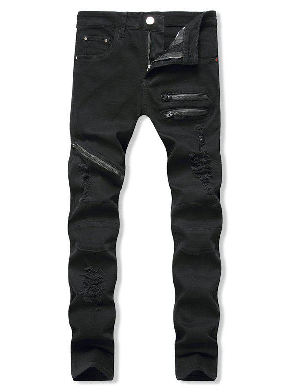 Zippers Destroy Wash Long Jeans - BLACK 32