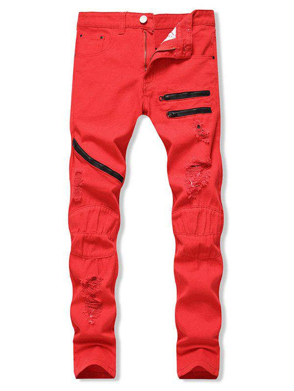 Zippers Destroy Wash Long Jeans - RED 32