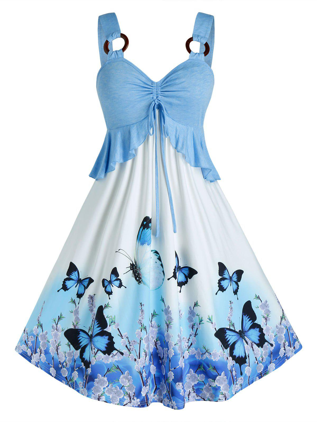 Plus Size Butterfly Print Ruffle O Ring Cinched Dress - LIGHT SKY BLUE L