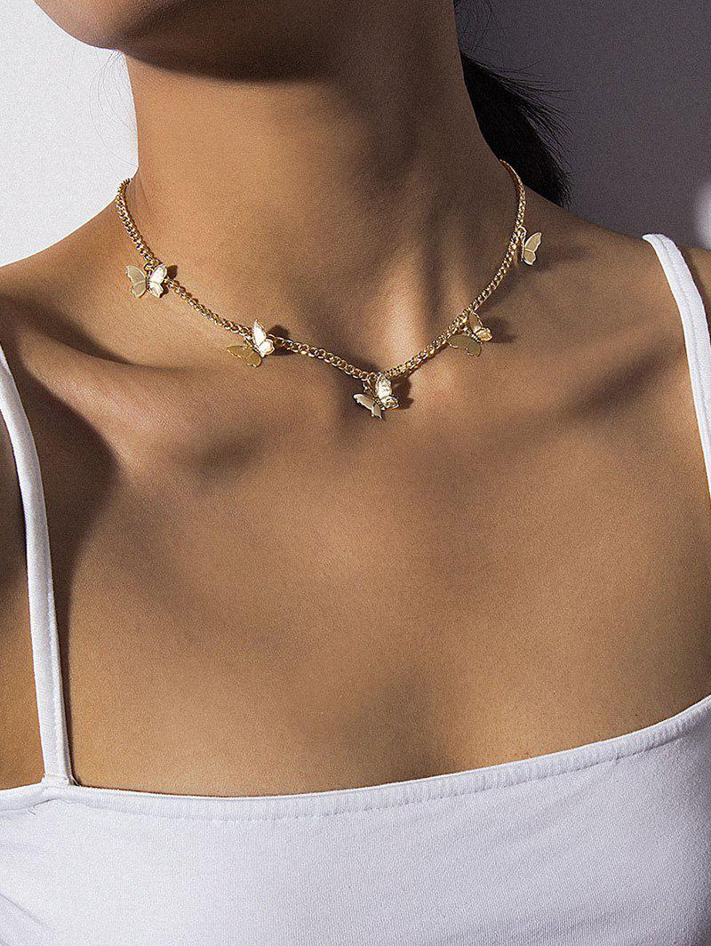 Chain Butterfly Collarbone Necklace - GOLDEN