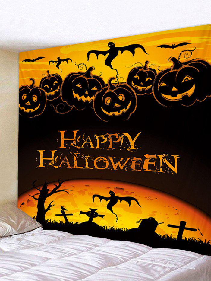 Halloween Digital Printing Pumpkin Wall Tapestry - multicolor W91 X L71 INCH