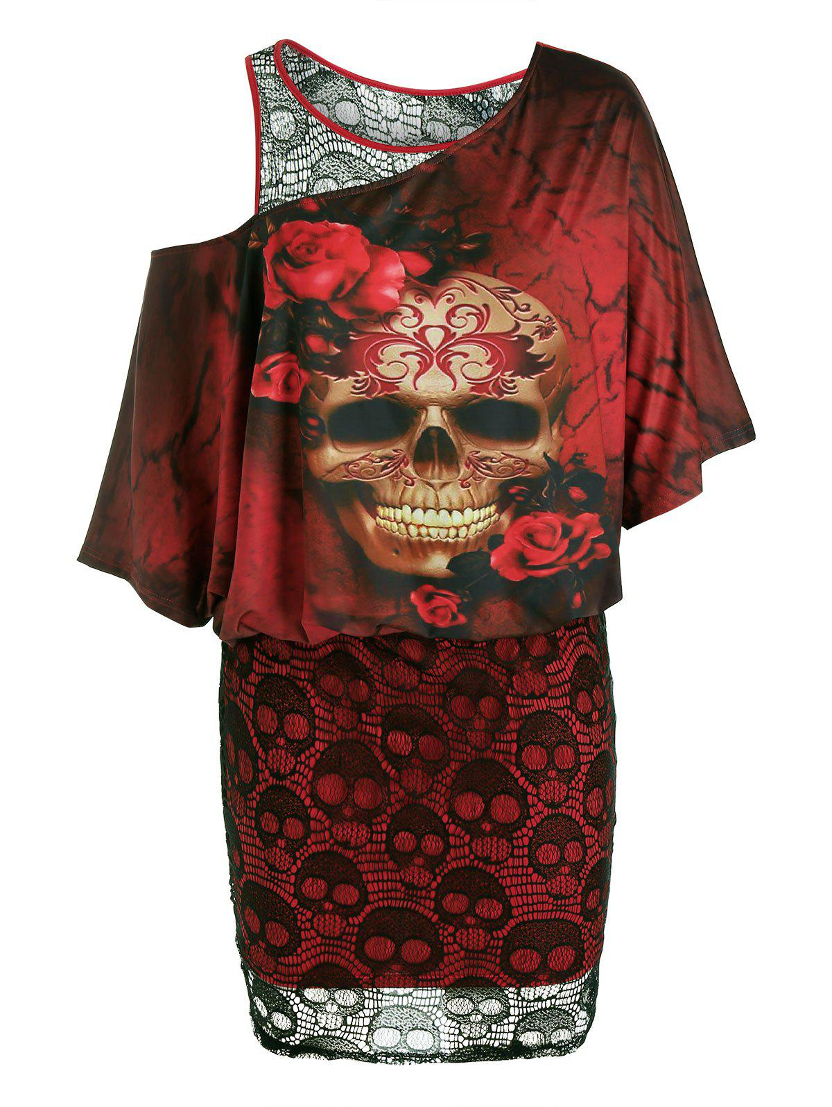 Plus Size Halloween Skull Lace Skew Neck Bodycon Dress - FIREBRICK L