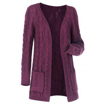Plus Size Open Front Pocket Cable Knit Cardigan