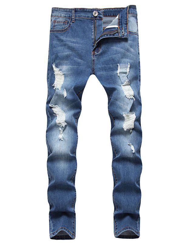Distressed Ripped Long Jeans - BLUE M