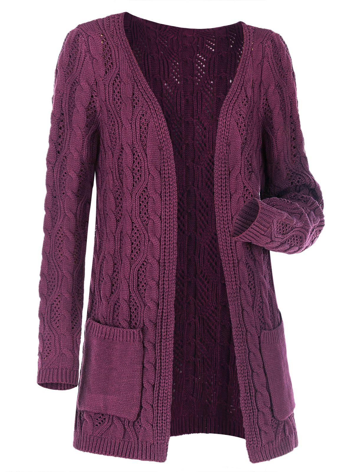 Plus Size Open Front Pocket Cable Knit Cardigan - CONCORD XXL