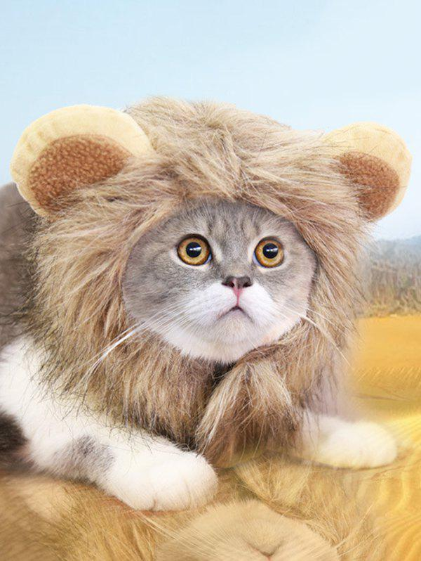 Halloween Cat Adjustable Lion Design Pet Hat - multicolor A