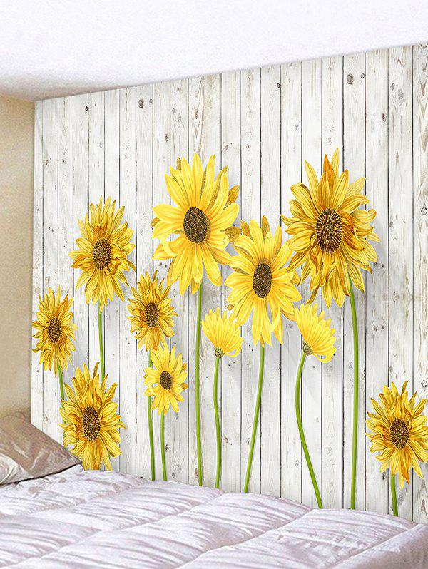 Sunflower Printed Wall Hanging Tapestry - BRIGHT YELLOW W91 X L71 INCH
