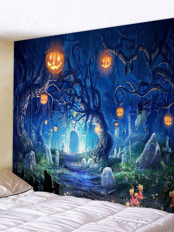 Halloween Pumpkin Cemetery Printing Wall Tapestry - BLUEBERRY BLUE W59 X L51 INCH