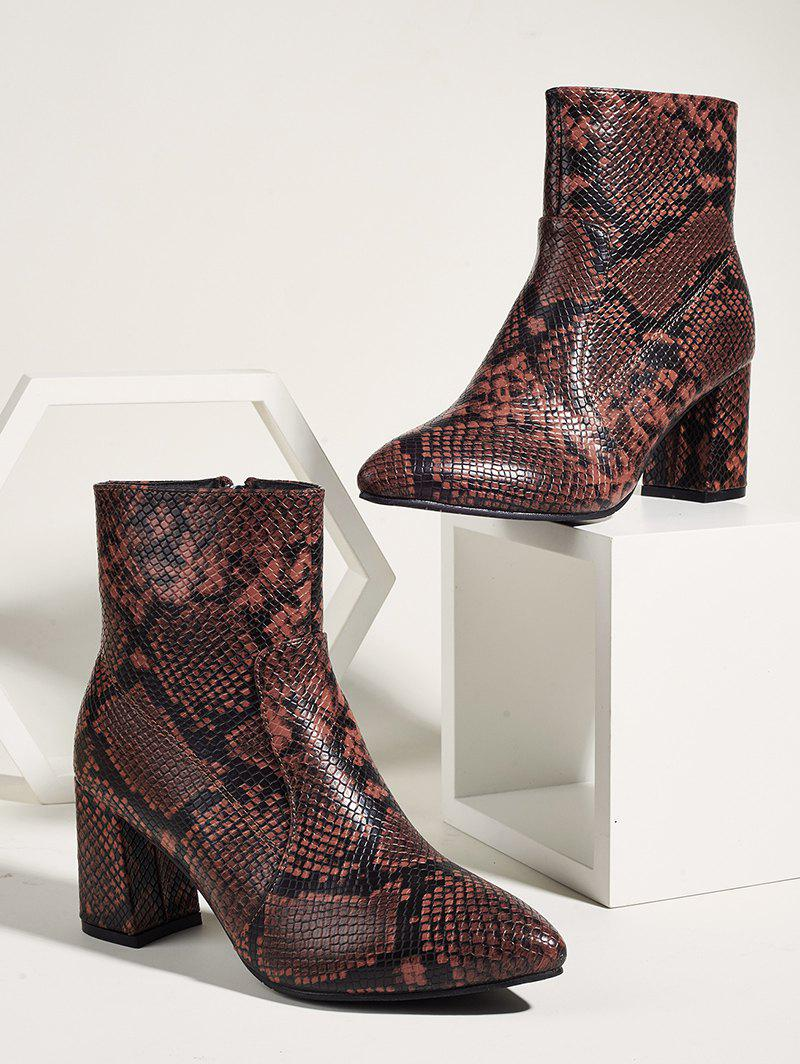 Snake Print Pointed Toe Chunky Heel Ankle Boots - multicolor A EU 40