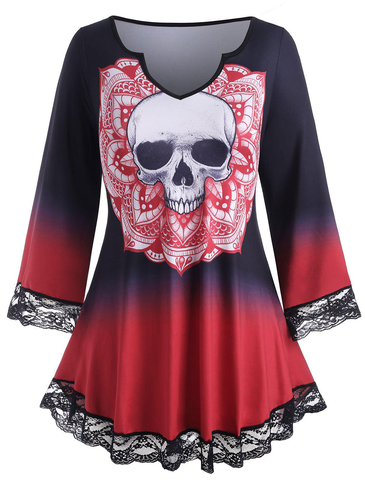 Plus Size Halloween Skull Print Ombre Color Tee - RED L
