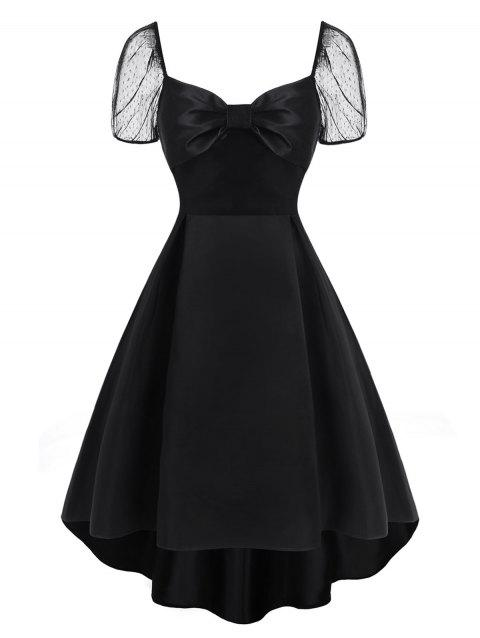 Lace Puff Sleeve Bowknot High Low Dress
