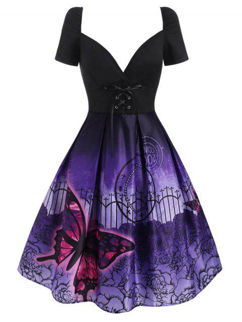 Lace Up Butterfly Flower Print Plunging Dress