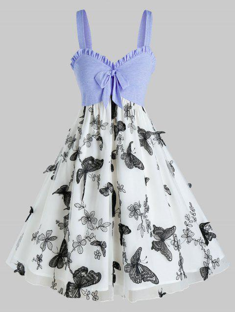 Plus Size Ruffle Bowknot Patchwork Butterfly Mesh Dress