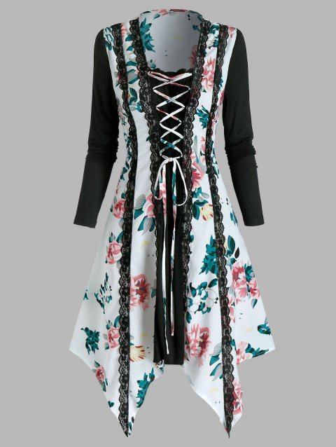 Floral Print Lace Up Lace Trim Asymmetrical Dress