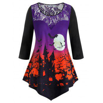 Plus Size Lace Insert Halloween Printed Tee