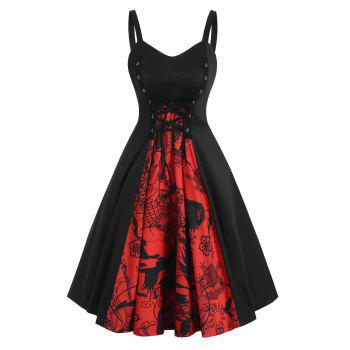 Grommet Lace-up Halloween Skull A Line Dress