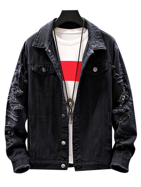 Mock Button Ripped Button Up Denim Jacket - BLACK S