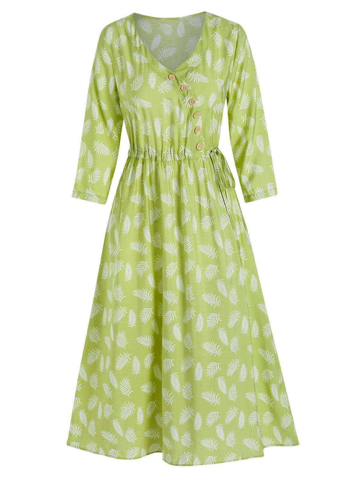Feather Pattern Buttons Drawstring A Line Dress - AVOCADO GREEN M