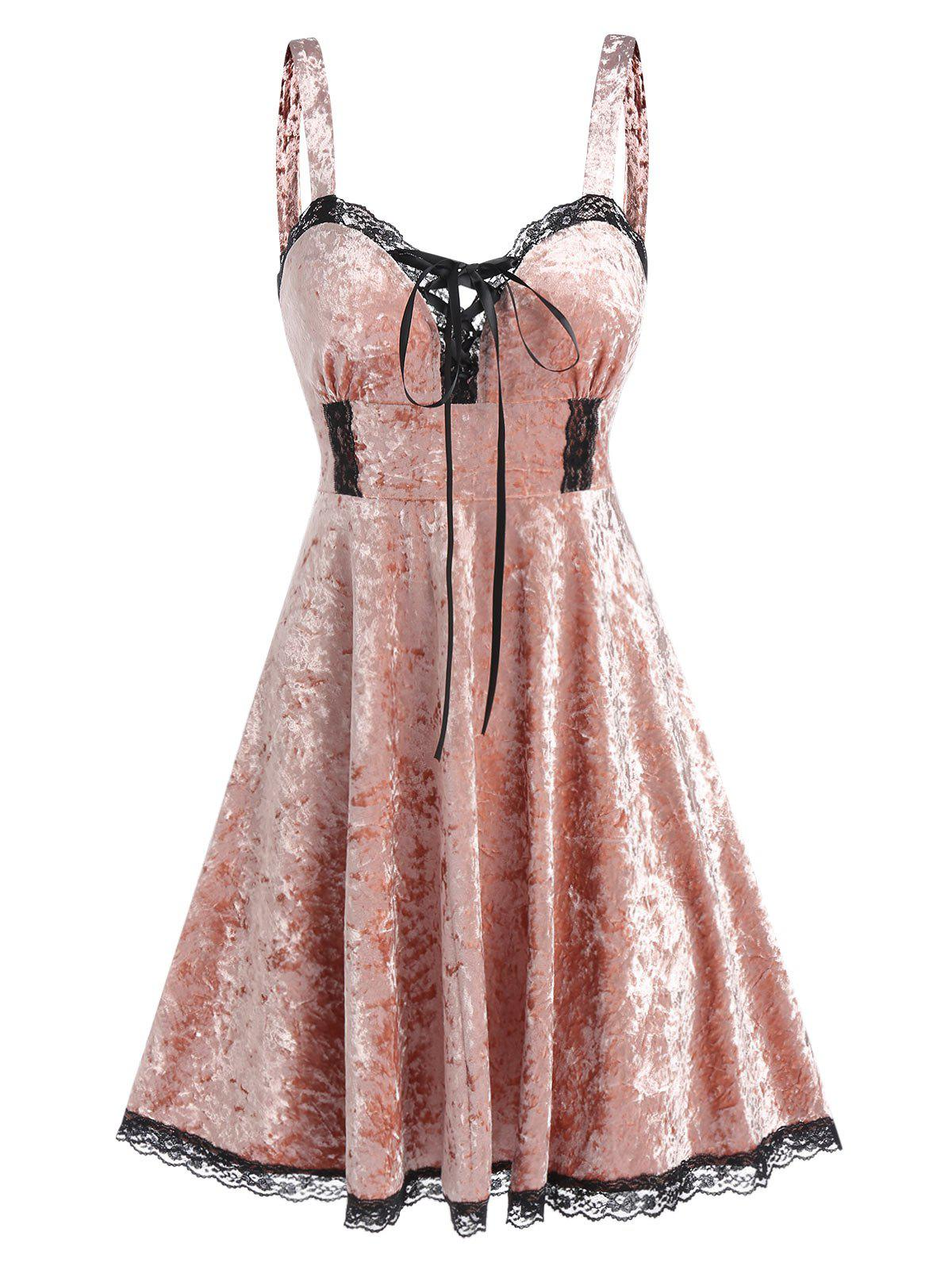 Gothic Velour Lace Panel Sweetheart Neck Dress - PINK L