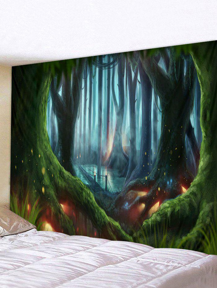 Forest Bridge Pattern Waterproof Wall Hanging Tapestry - multicolor W91 X L71 INCH