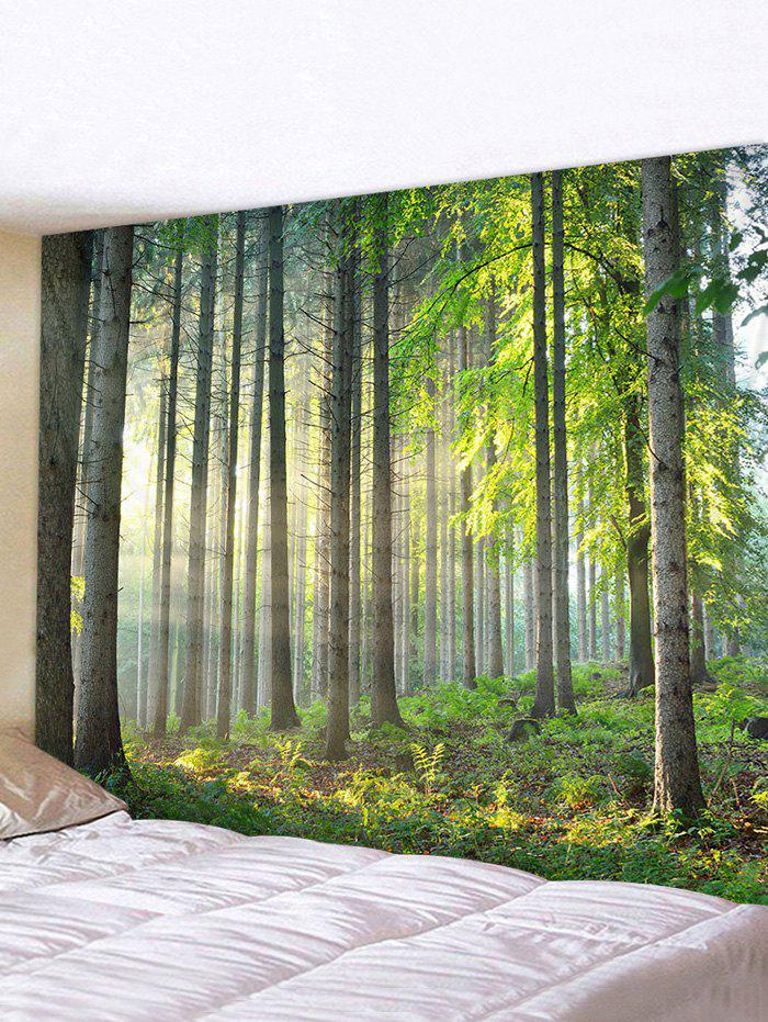 3D Printing Forest Sunshine Waterproof Tapestry - multicolor W91 X L71 INCH