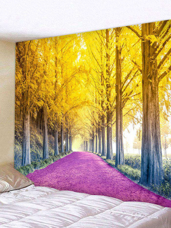 Flower Trees Path Pattern Home Wall Tapestry - multicolor W91 X L71 INCH